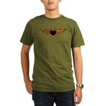 Flame Heart Tattoo Organic Men's T-Shirt (dark)