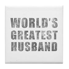 World's Greatest Husband (Grunge) Tile Coaster
