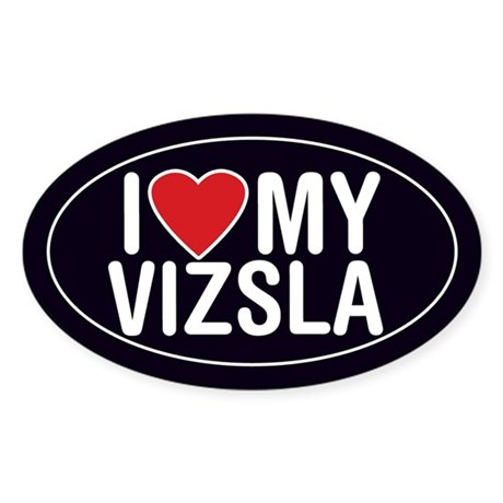 I Love My Vizsla Sticker/Decal (Oval)