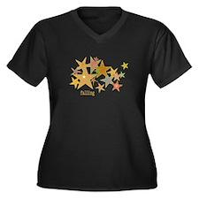 Earth starZ Women's Plus Size V-Neck Dark T-Shirt