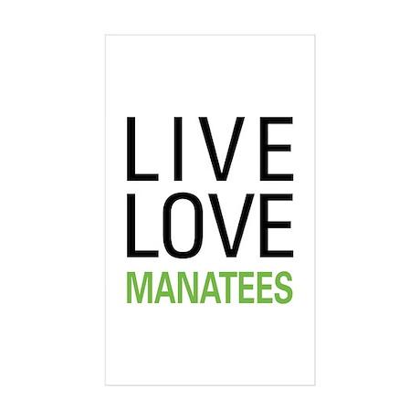 Live Love Manatees Sticker (Rectangle 50 pk)