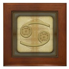 Cancer Zodiac Symbol Framed Tile
