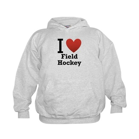 I Love Field Hockey Kids Hoodie