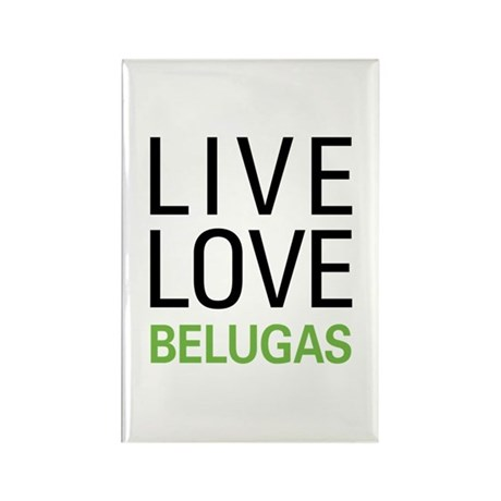 Live Love Belugas Rectangle Magnet (100 pack)