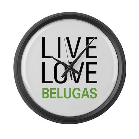 Live Love Belugas Large Wall Clock