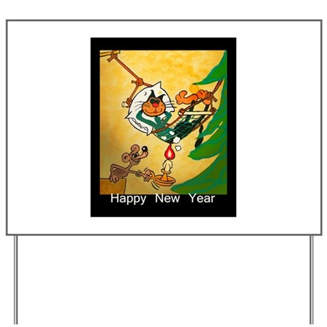 Cat - Happy new year - Yard Sign