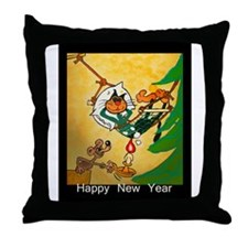 Cat - Happy new year - Throw Pillow