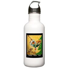 Cat - Happy new year - Water Bottle