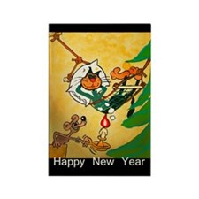 Cat - Happy new year - Rectangle Magnet