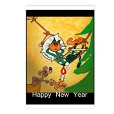 Cat - Happy new year - Postcards (Package of 8)