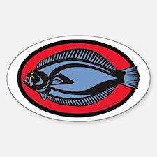 Graphic Flounder Sticker (Oval)