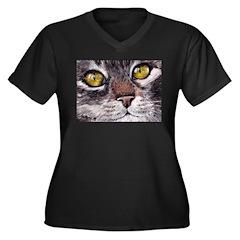 CATS EYES Women's Plus Size V-Neck Dark T-Shirt