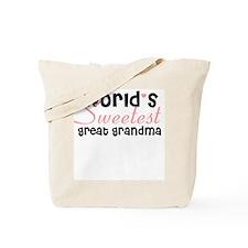 World's sweetest great grandm Tote Bag
