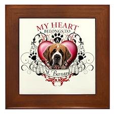 My Heart Belongs to a St. Bernard Framed Tile
