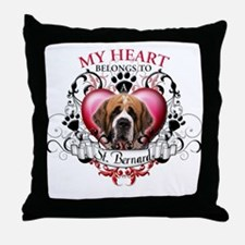 My Heart Belongs to a St. Bernard Throw Pillow