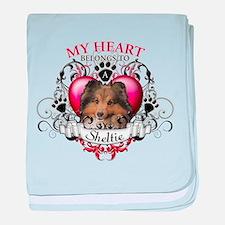 My Heart Belongs to a Sheltie baby blanket