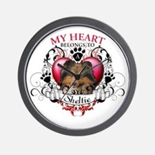 My Heart Belongs to a Sheltie Wall Clock
