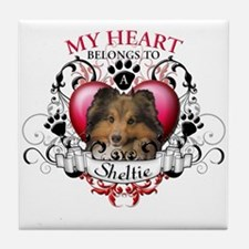 My Heart Belongs to a Sheltie Tile Coaster