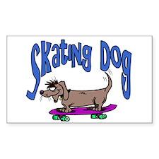 Skating Dog Rectangle Decal