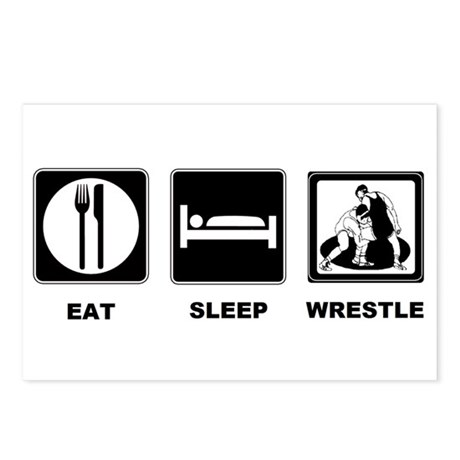 Eat Sleep Wrestle Postcards (Package of 8)