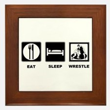 Eat Sleep Wrestle Framed Tile
