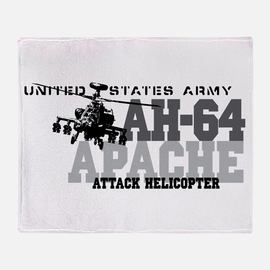 Army Apache Helicopter Throw Blanket
