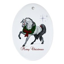 Christmas Andalusian Horse Ornament (Oval)
