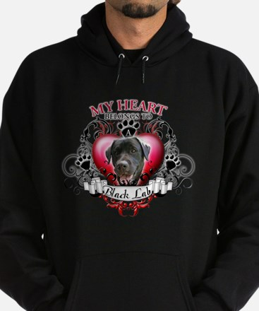 My Heart Belongs to a Black Lab Hoodie (dark)