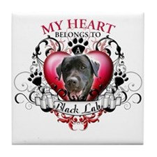 My Heart Belongs to a Black Lab Tile Coaster