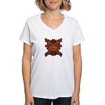 Purple Skull Women's V-Neck T-Shirt
