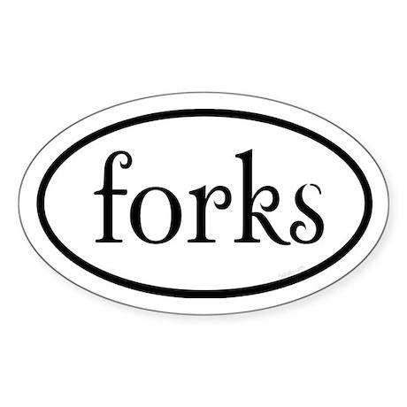 Forks Euro Sticker (Oval)