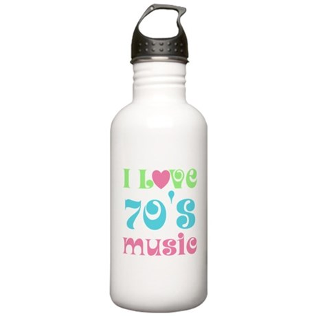 I Love 70's Music Stainless Water Bottle 1.0L