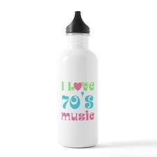 I Love 70's Music Water Bottle