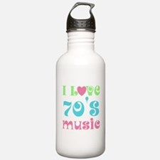 I Love 70's Music Water Bottle