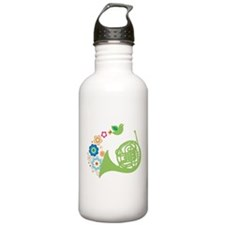 Retro Flower French Horn Water Bottle