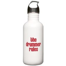 The Drummer Rules Water Bottle