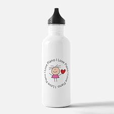 Cute I Love Piano Sports Water Bottle