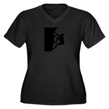 Climbing Women's Plus Size V-Neck Dark T-Shirt