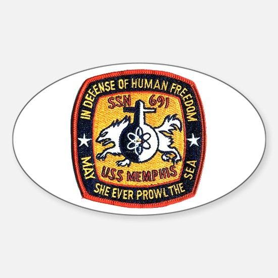 USS Memphis SSN 691 Oval Decal