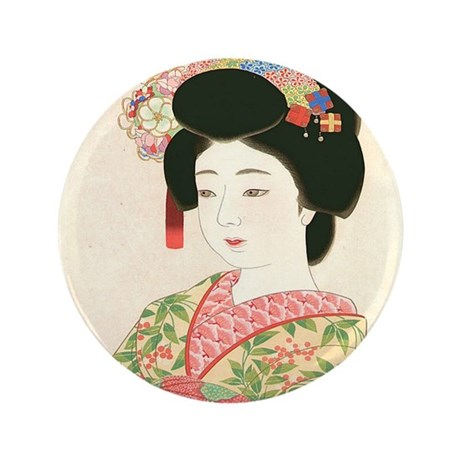 "Maiko, Japanese Woodblock Print 3.5"" Button (100 p"