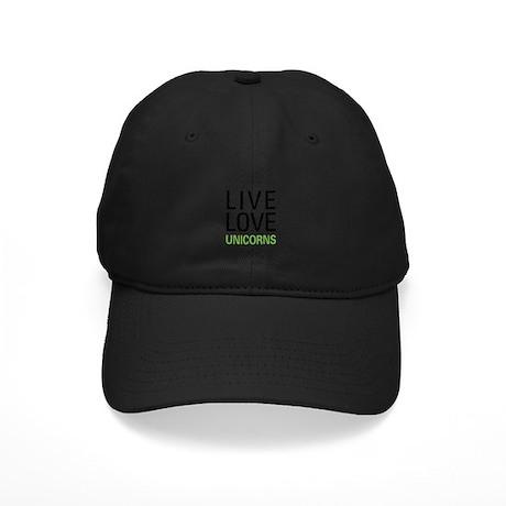 Live Love Unicorns Black Cap