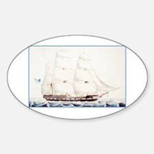 Cute Vintage sail ship Sticker (Oval)
