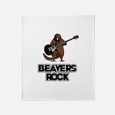 Beavers Rock Throw Blanket