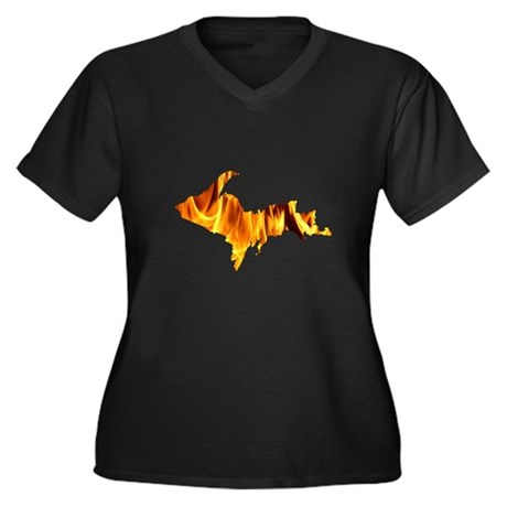 Bonfire U.P. Women's Plus Size V-Neck Dark T-Shirt