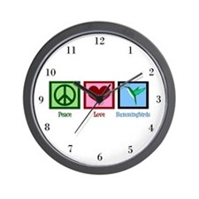 Peace Love Hummingbirds Wall Clock