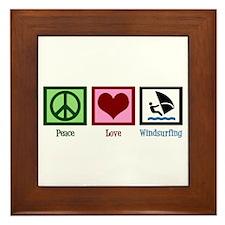 Peace Love Windsurfing Framed Tile