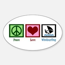 Peace Love Windsurfing Sticker (Oval)