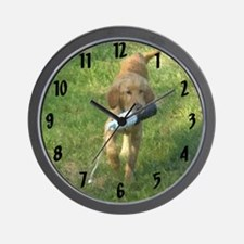 Puppy with Bumper Wall Clock