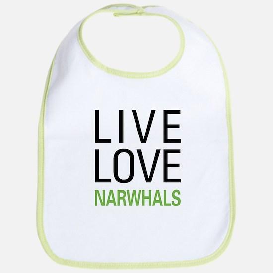Live Love Narwhals Bib