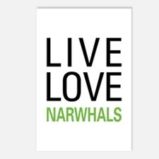 Live Love Narwhals Postcards (Package of 8)